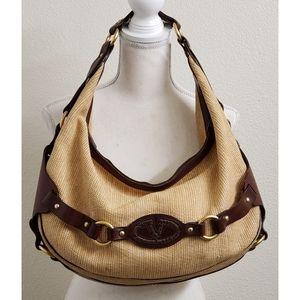 VALENTINO GARAVANI Tweed/Leather Hobo Handbag